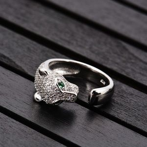 925 Leopard Head CZ Silver Ring Jewelry Women Gift